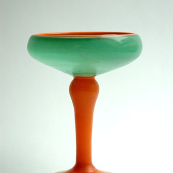 "wonbderfull french art deco glass cup / ashtray ""bijou"" probably by SHNEIDER or DAUM - Art Deco"