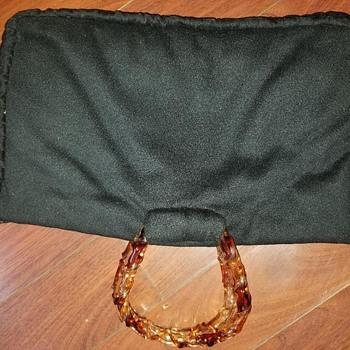 Vintage Custom wool Purse? Lucite handles custom 1950's ?? - Bags