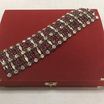 Sherman Dark Siam & Clear Bracelet - Costume Jewelry