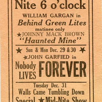 From the Luzerne, PA Theater, 1946!