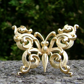 Crown Trifari Butterfly Brooch - Costume Jewelry
