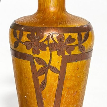 BOHEMIAN VASE WITH UNUSUAL COPPER OVERLAY - Art Glass