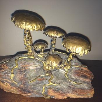 Brass mushrooms on rock - Fine Art