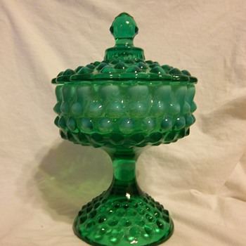 Fenton emerald green opalescent hobnail footed candy dish