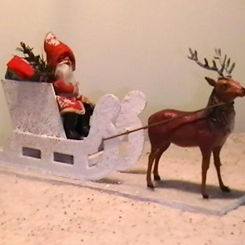 1920's-1930's German Putz Santa with Sleigh and Reindeer. - Christmas