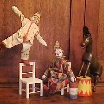 1920's Schoenhut Humpty Dumpty Circus Clowns and Donkey - Toys