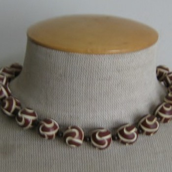 Brown & cream carved celluloid necklace - Costume Jewelry