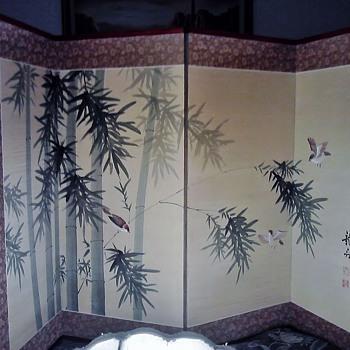 4 panel silk painted screen