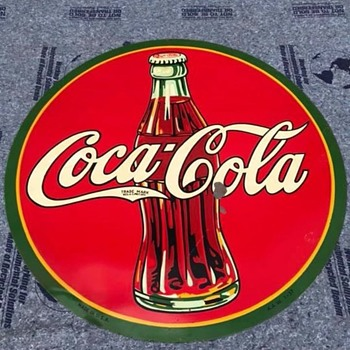 Coca Cola round bullseye sign 1937  - Coca-Cola