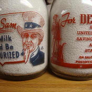 VALLEY BELL DAIRY...CHARLESTON SOUTH CAROLINA WAR SLOGAN MILK BOTTLES - Bottles