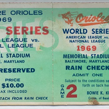 1969 Baltimore Orioles World Series Ticket Stub  - Baseball