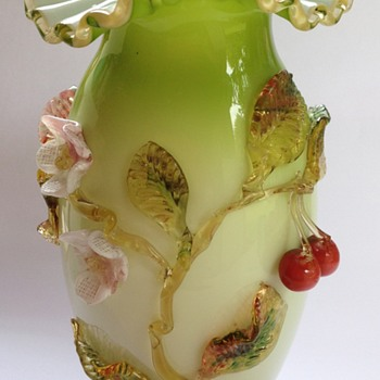 Victorian cased glass vase with applied cherries & flowers - Art Glass