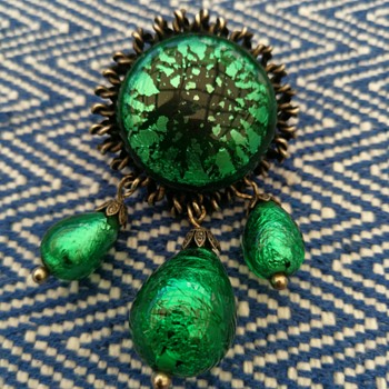 Midcentury foil glass brooch  - Costume Jewelry