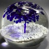Peacock Glass Works - Cobalt Blue & White - Trumpet Flower Paperweight