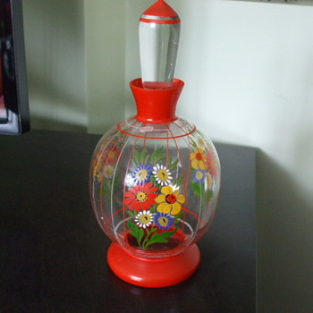 Oh So CZECH! Painted Flowers Perfume Bottle - Bottles