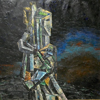 "Shabaeff Valentin-Firsov, Oil on Canvas ""The Soldier"" Cubist, 1940-50"
