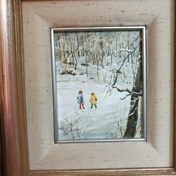 Painting of two children in the snow