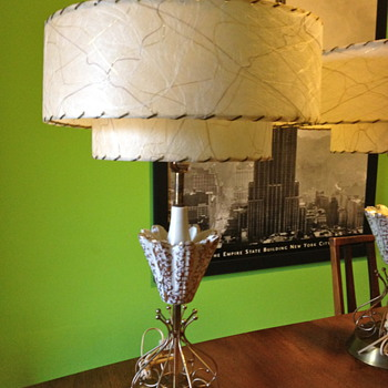 Mid-Century Lamps with Fiberglass Drum Shades - Mid-Century Modern