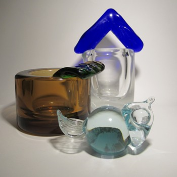 Jan Exnar art glass for Skrdlovice 1980s - ashtray, vase and bird - Art Glass