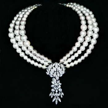 EXTREMELY RARE SHERMAN NECKLACE, PEARL AND RHINESTONE  - Art Deco