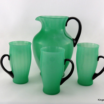 Steuben 7218 Green Jade Optic Rib w Black Handles Pitcher & Tumblers - Art Glass