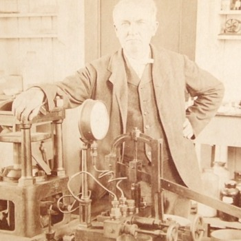 Thomas Edison Stereoview in his Laboratory c. 1901 - Photographs