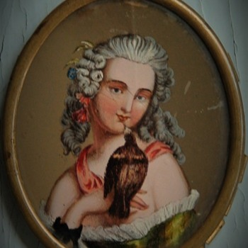 Antique French Miniature Eglomise Portrait On Glass Of A Girl And Her Pet Bird - Fine Art
