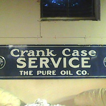 Old Tiolene Pure Oil CrankCase Service Porcelain sign - Petroliana
