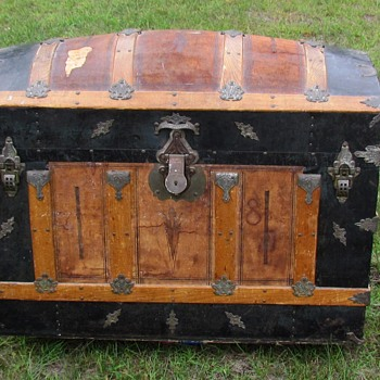 "36"" 1880's 4 slat Leather Barrel Top Trunk - Furniture"