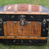 "36"" 1880's 4 slat Leather Barrel Top Trunk"