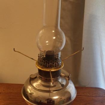 B&H Nickel Plated Kerosene Table Lamp - Lamps