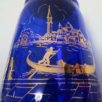 Cobalt Blue Glass Decanter with gold overlay design of Venice - Art Glass