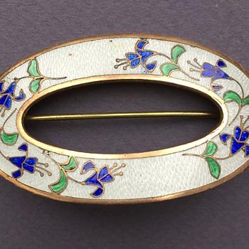 Edwarddian Cloisonne Enamel 10K? Sash Pin - Fine Jewelry