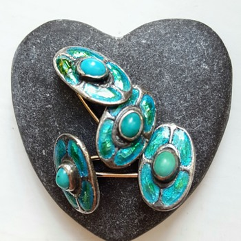 Antique Arts and Crafts cufflinks, silver, turquoises, enamel and gold. - Fine Jewelry