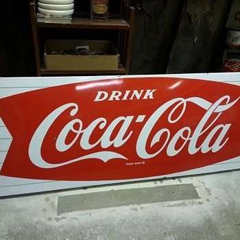 "69"" Sleigh sign w/ Fishtail logo - Coca-Cola"
