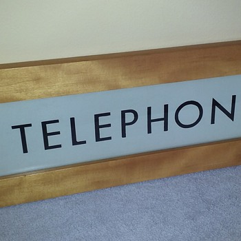 glass TELEPHONE (booth) sign, 1960's - Signs