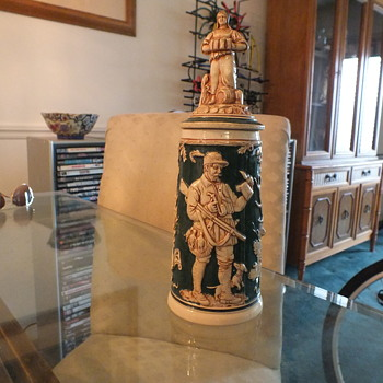 Old Figural Lidded Stein, Bar Maid, Hunting Motif - Breweriana