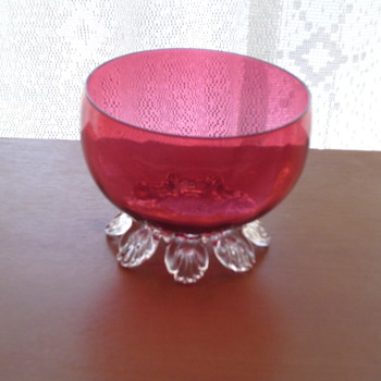 cranberry glass bowl with feet  - Glassware