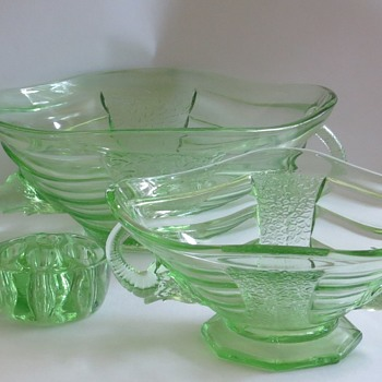 Sowerby Glass Bowls with Elephant Handles, Pattern number 2614 - Glassware