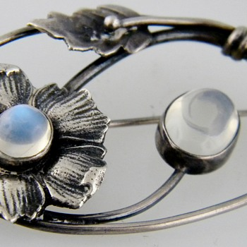 Vintage Deco Moonstone Leaf Brooch Sterling Pin - Fine Jewelry