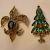 HOBE Christmas Tree Pin & Unmarked Fleur-de-Lis Friend