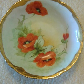 Hand-painted, made in Bavaria bowl with gold leaf trim, and blue glass candy dish - China and Dinnerware