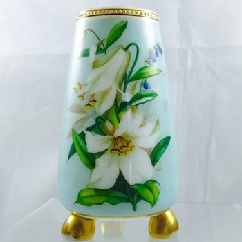 Victorian Harrach Enamelled Ball Footed Vase, ca 1870's - Art Glass