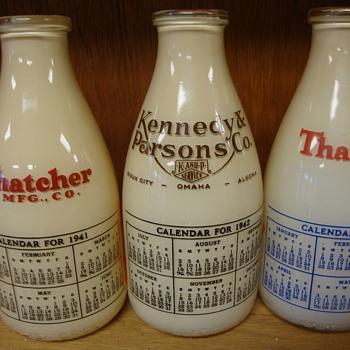 Thatcher 1941 & 1942 calendar milk bottles