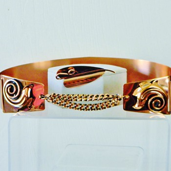 Retro Renoir Copper Corset Belt & Matching Brooch For Val97 - Costume Jewelry