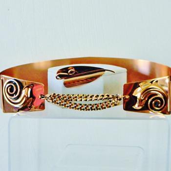Retro Renoir Copper Corset Belt & Matching Brooch For Val97