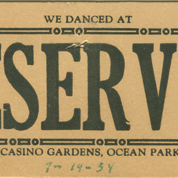 table card from the Casino Gardens in Ocean Park, CA - Paper