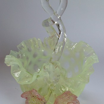 Victorian uranium glass lattice pattern basket with applied flowers - Art Glass