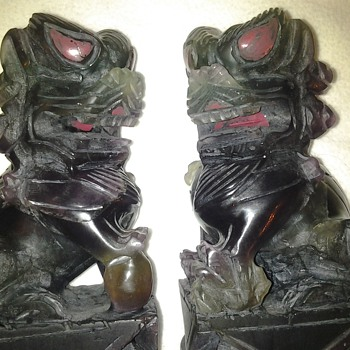 JADE OR AMETHYST FOO DOG'S - Asian