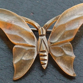 Butterfly/Moth Hand-Carved Horn Brooch From France